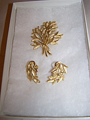 Gold Plated Tree Branches Broach & Matching Earrings
