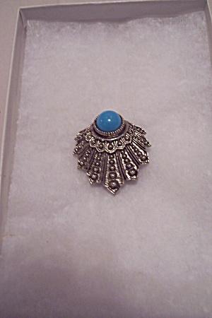 ART Silver Tone & Turquoise Stone Pin   (Image1)
