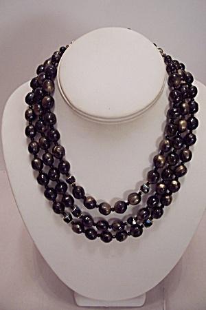 Three Strand Gray & Black Bead Necklace (Image1)