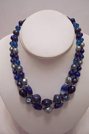 Two Strand Blue, Gray & Silver Bead Necklace