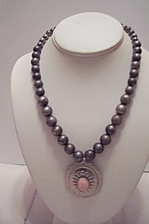 Grayish-silver Bead Necklace With Pink Stone Drop