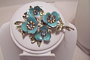 Coro Blue Enamel & Rhinestone Floral Brooch (Image1)