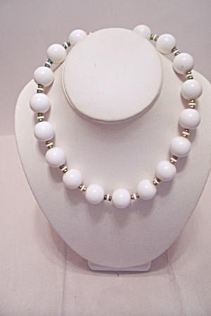 Monet Large White Bead Necklace (Image1)