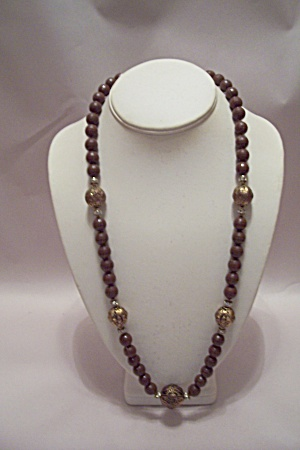Brown Beads, Goldtone Beads & Rhinestones Necklace