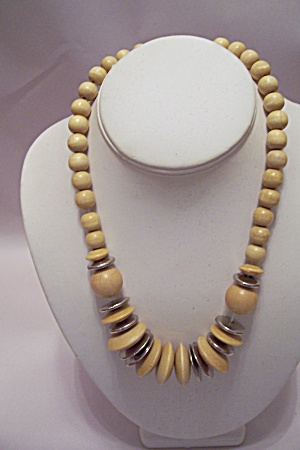 Light Wooden Bead & Disk Necklace