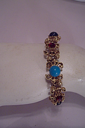 Goldtone Filgree Bracelet With Multi-colored Stones