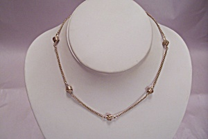 Avon Gold Tone Chain & Knot Necklace (Image1)
