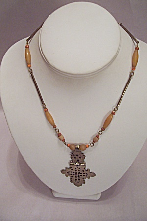 Art Deco Style Metal Link,Colored Beads & Drop Necklace (Image1)