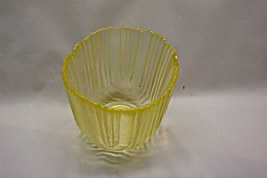 VIKING Vaseline Art  Glass Small Vase/Candle holder (Image1)