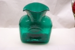 BLENKO Handblown Emerald Green Art Glass Water Bottle