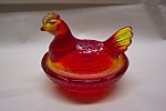 Click here to enlarge image and see more about item AGAM0011: Amberina Art Glass Chicken Covered Dish