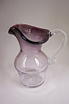 Crystal & Amethyst  Handblown Cased Art Glass Pitcher