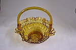 Handblown  Amber Art  Glass Basket