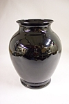 Handblown Black /Amethyst Art Glass Bulbous Vase
