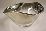 Handblown Crystal & Silver Art Glass Folded Bowl