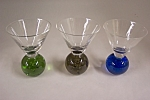 Click here to enlarge image and see more about item AGCH0005: Set Of Three Handblown Art Glass Wine Glasses
