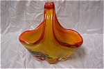 Click here to enlarge image and see more about item AGM006: MURANO Hand-Blown Art Glass Basket