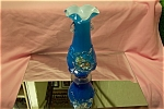 MURANO Blue Floral Hand-Blown Art Glass Vase