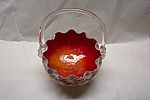 MURANO Handblown Cased Art Glass Basket