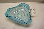 Click here to enlarge image and see more about item AGM034: MURANO Handblown Cased Art Glass Folded Dish