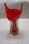 MURANO Handblown Cased Cherry Red Art Glass Vase