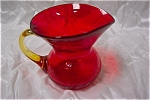 Click here to enlarge image and see more about item AGR001: Rainbow Amberina Crackle Glass Pitcher