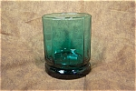 Elegant Greenish-Blue 10-Sided Water Glass