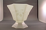 Vintage Milk Glass Paneled Grape Pedestal  Bowl