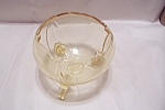 Click here to enlarge image and see more about item FAC00029: Vintage Footed Vaseline Glass Rose Bowl