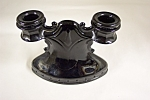 Click here to enlarge image and see more about item FAC00043: Black Glass Candle Holder