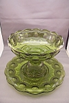 Click here to enlarge image and see more about item FAC00080: Unique Green Thumbprint & Hobnail Glass Fruit Bowl