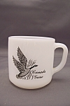 Click here to enlarge image and see more about item FAC00085: Federal Milk Glass Mug With Bird Decals