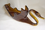 Large Amber Handblown Art Glass Swan