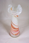 Click here to enlarge image and see more about item FAC00334: Murano Handblown Cased Orange/ White Art Glass Bud Vase