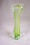 Viking Cased Light Green Handblown Art Glass Bud Vase