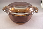 Click here to enlarge image and see more about item FAC00521: Anchor Hocking/Fire King 12 Ounce Amber Casserole Lid
