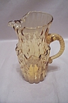 Hand Blown Amber Art Glass Pitcher