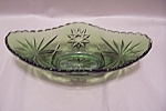 Scarce Green Early American Prescut Glass Godola Bowl