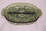 Green Early American Prescut Glass Relish Dish