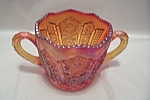 Click here to enlarge image and see more about item FAC00656: Indiana Carnival Amberina Glass Sugar Bowl