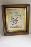 Click here to enlarge image and see more about item FLCA0001: Framed Needlepoint Bird Picture