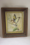 Click here to enlarge image and see more about item FLCA0002: Framed Needlepoint Bird Picture