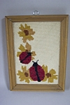 Click here to enlarge image and see more about item FLCA0008: Framed Ladybug Needlepoint Picture