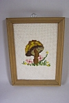 Click here to enlarge image and see more about item FLCA0009: Framed Mushroom Needlepoint Picture