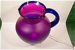 Click to view larger image of Handblown Purple And Blue Art Glass Pitcher (Image1)