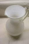 Viking Handblown White Cased Art Glass Pitcher
