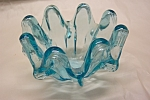 Handblown Light Blue Art Glass Folded Bowl