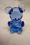 Handblown Blue Art Glass Teddy Bear