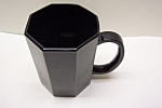 Click here to enlarge image and see more about item GBL002: Black Glass 8-Sided Mug