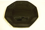 Click here to enlarge image and see more about item GBL006: Octagon Shaped Black Glass Salad Plate